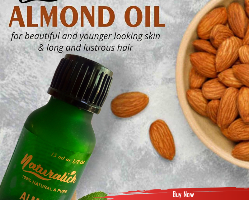 Naturalich - Naturals 100% Pure & Natural Sweet Almond oil - SCFE Co2 Extracted - for hair & skin - 15 ml