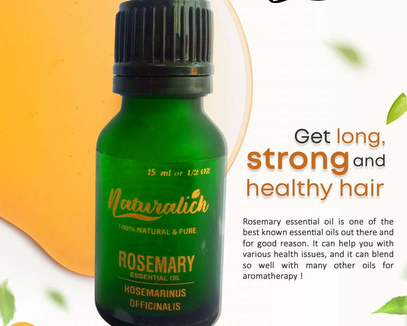 Naturalich Rosemary Essential oil for hair growth, Skin, Therapeutic Grade and Diffuser Aroma 15ml