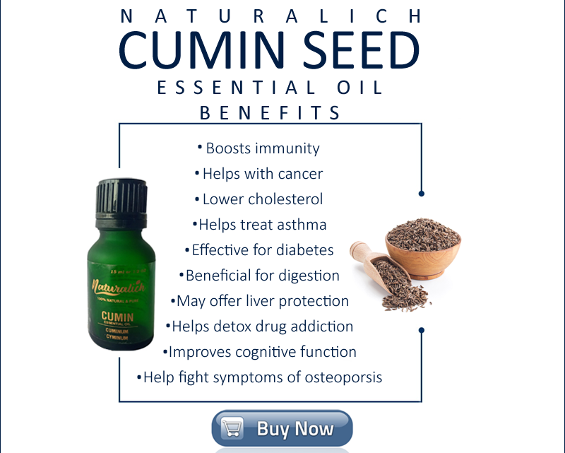 Naturalich Pure Cumin Seed Essential Oil (Cuminum cyminum) 100% Natural Therapeutic Grade Steam Distilled (15 ml)