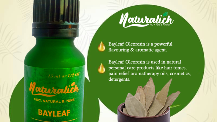 Naturalich Bay leaf Oleoresin, 100% Pure, Natural, 15 ml in Glass Bottle healing wounds, healthy hair and scalp, Relieves Joint Pain