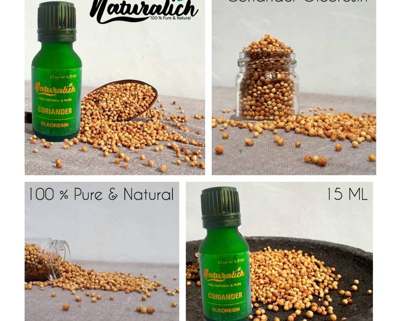 Naturalich Coriander Oleoresin, 100% Pure & Natural, 15 ml in Glass Bottle