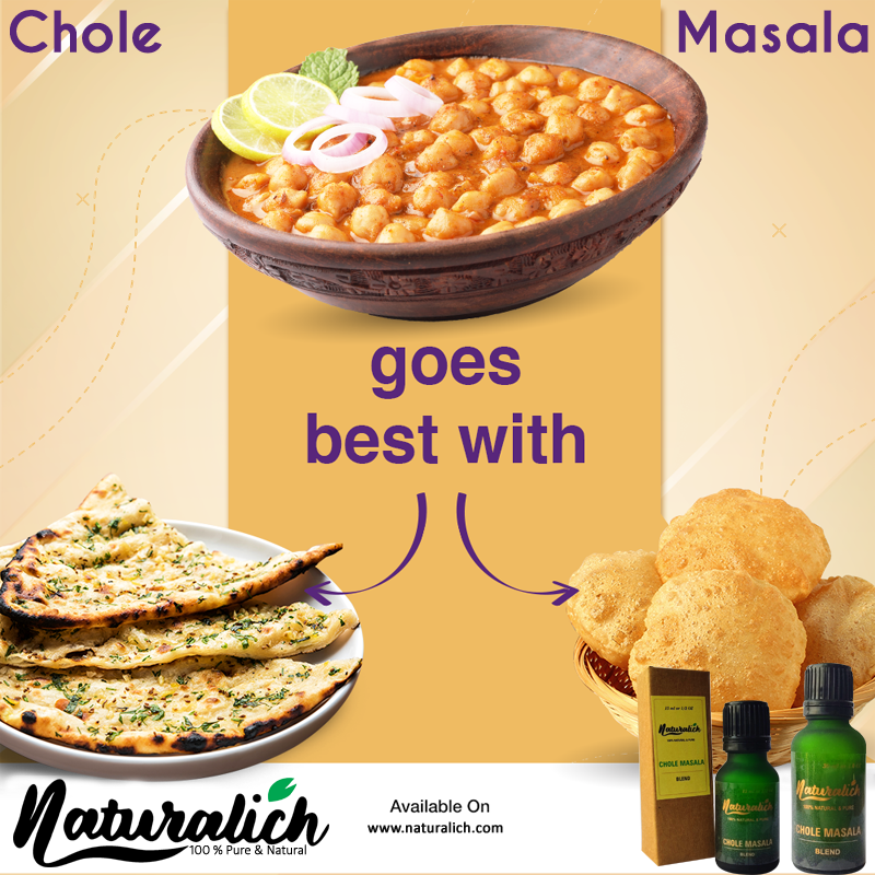 Naturalich Chole Masala with Natural Oils, 15ML, Liqued Naturalich Chole Masala Blend, 100 % Pure & Natural Chole Masala Extract (Pack of 1), Ready to Cook Spice Mix Chole Masala