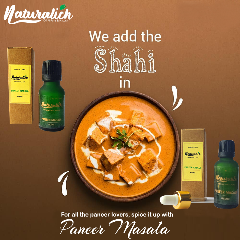 Naturalich Paneer Masala with Natural Oils, 15ML, Liqued Naturalich Paneer Masala Blend, 100 % Pure & Natural Paneer Masala Extract (Pack of 1), Ready to Cook Spice Mix Paneer Masala